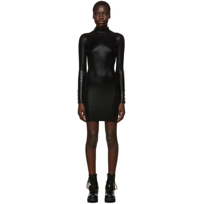 Versace Jeans Couture Black Lame Turtleneck Dress