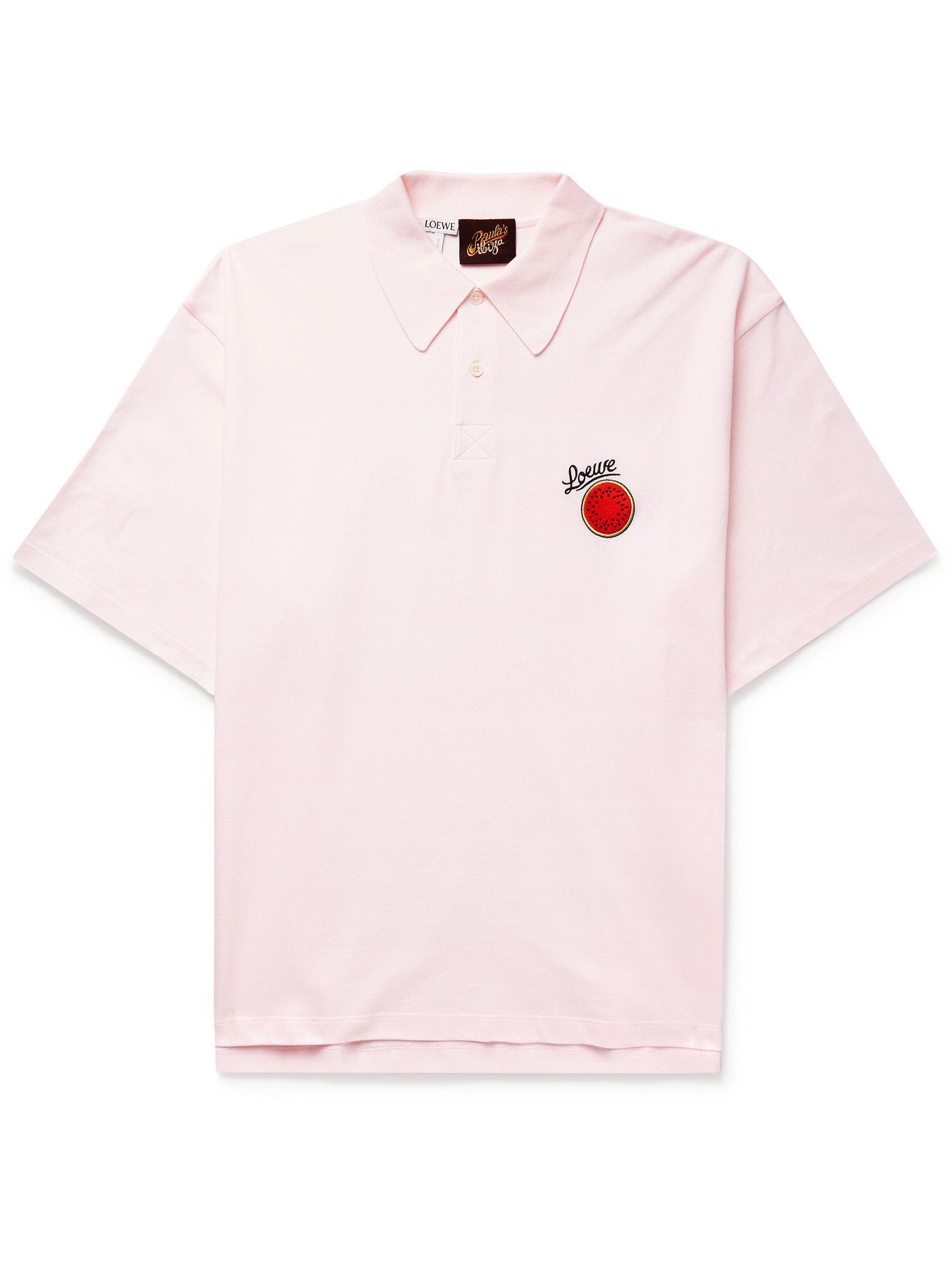 Photo: LOEWE - Paula's Ibiza Oversized Logo-Embroidered Cotton-Piqué Polo Shirt - Pink