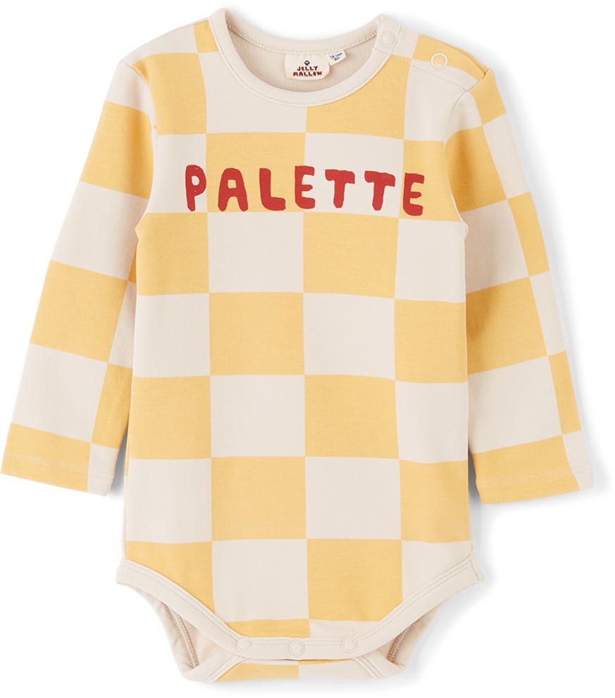 Photo: Jellymallow Baby Yellow & Off-White Check Bodysuit