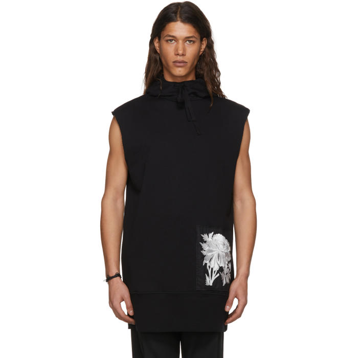 Photo: Ann Demeulemeester Black Sleeveless Tony Patch Peony Hoodie