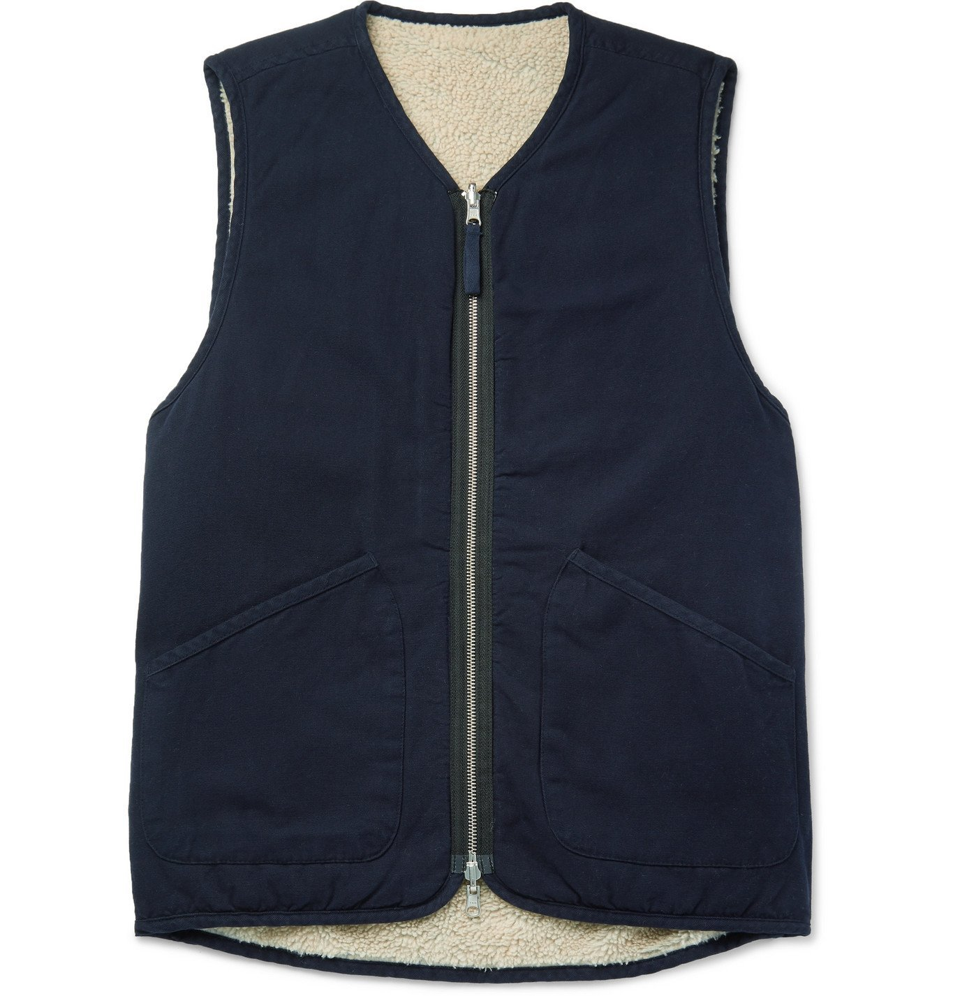 Photo: Universal Works - Faux Shearling-Lined Cotton Gilet - Blue