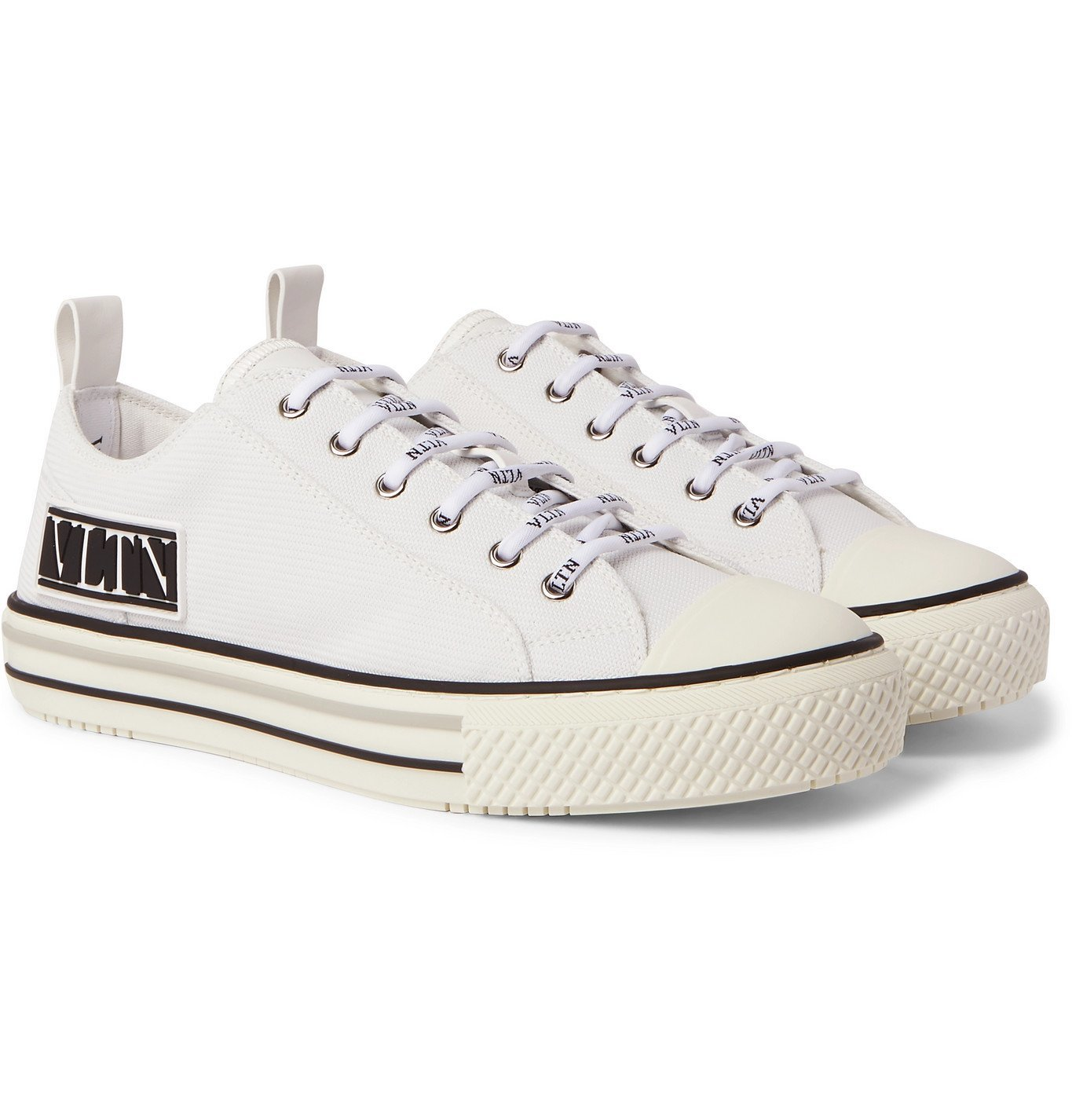 Photo: Valentino - Valentino Garavani Logo-Appliquéd Rubber-Trimmed Canvas Sneakers - White