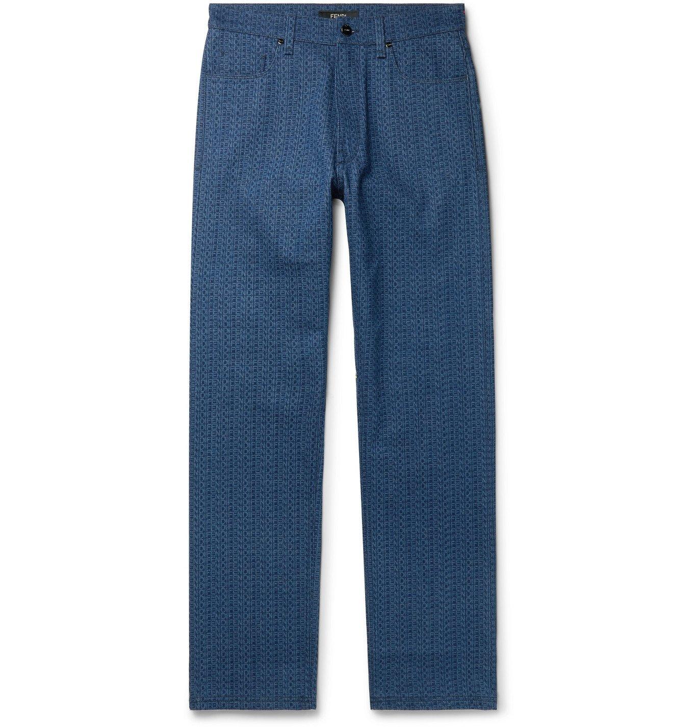 Photo: Fendi - Logo-Print Denim Jeans - Blue