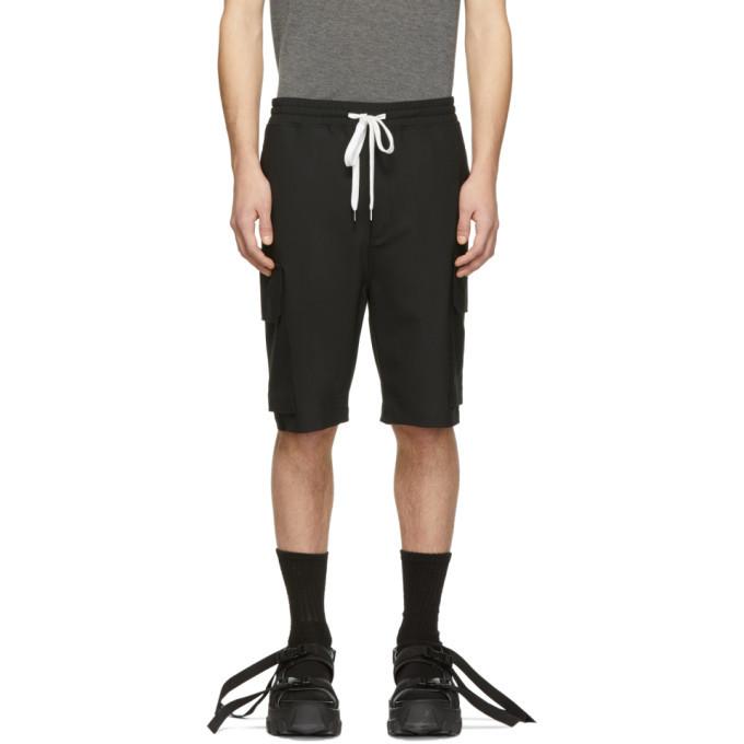 Photo: Neil Barrett Black Wool Cargo Shorts