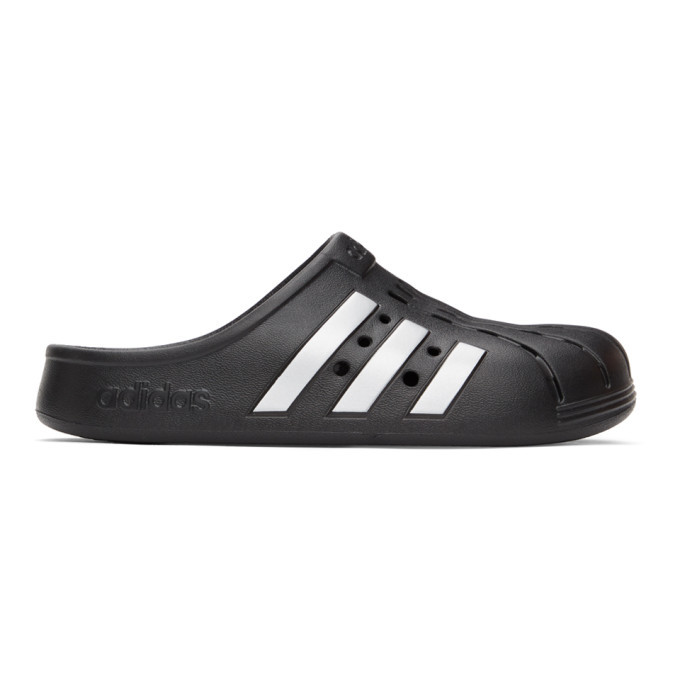 Photo: adidas Originals Black Adilette Clog Sandals
