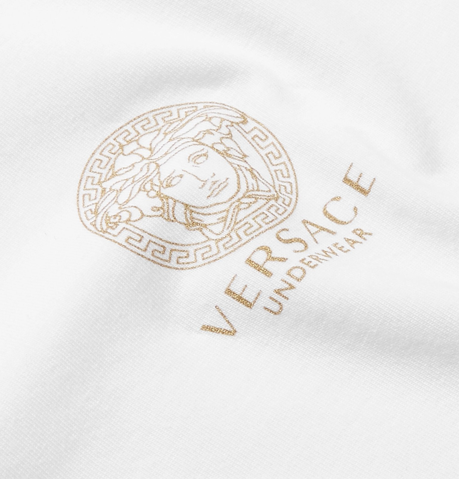 Versace - Two-Pack Logo-Print Stretch-Cotton Jersey T-Shirts - Black
