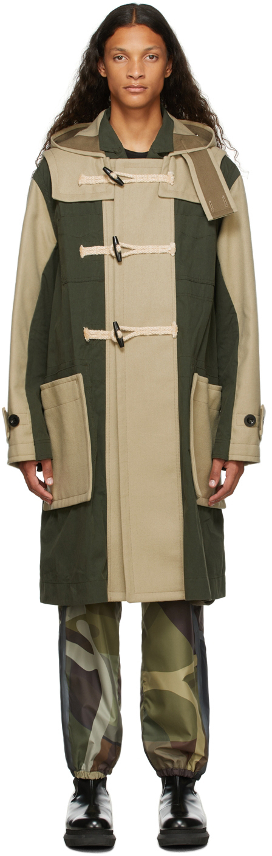 Photo: Sacai Beige & Khaki Wool Toggle Coat