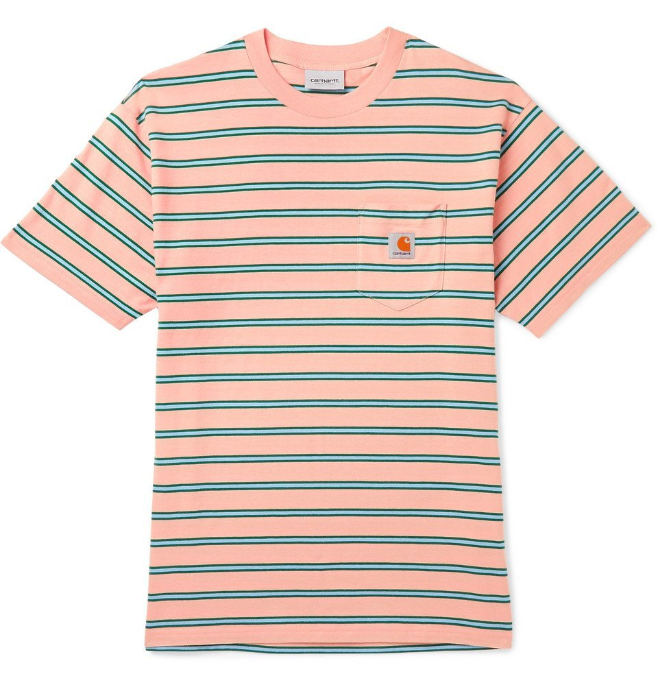 Photo: Carhartt WIP - Houston Striped Cotton-Jersey T-Shirt - Orange
