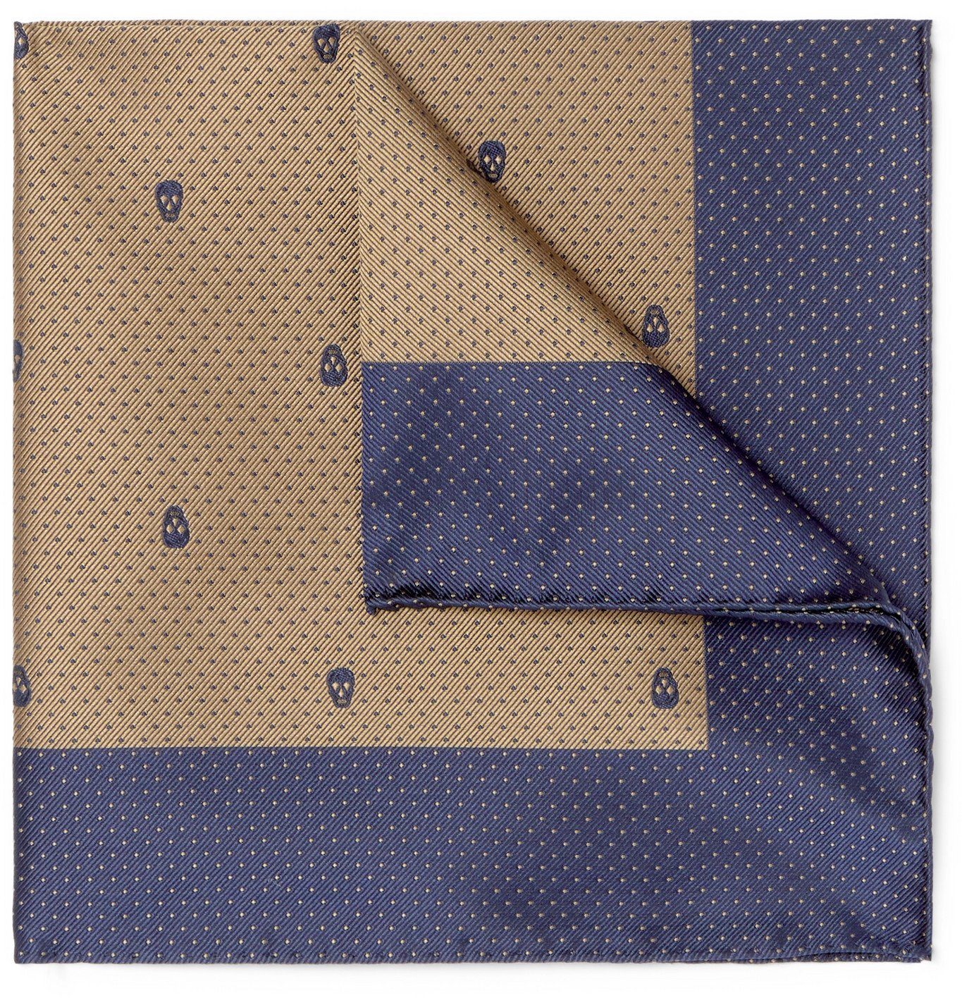 Photo: ALEXANDER MCQUEEN - Polka-Dot Silk-Jacquard Pocket Square - Blue