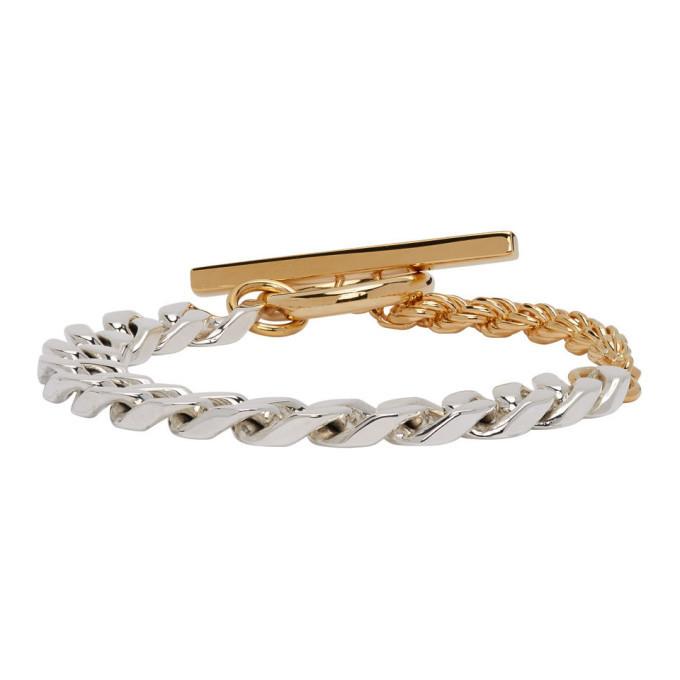 Photo: Bottega Veneta Silver and Gold Chain Bracelet