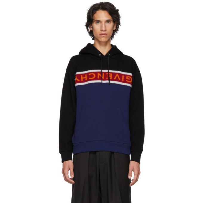 Photo: Givenchy Black and Blue Upside Down Logo Hoodie