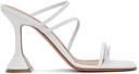 Amina Muaddi White Naima Heeled Sandals