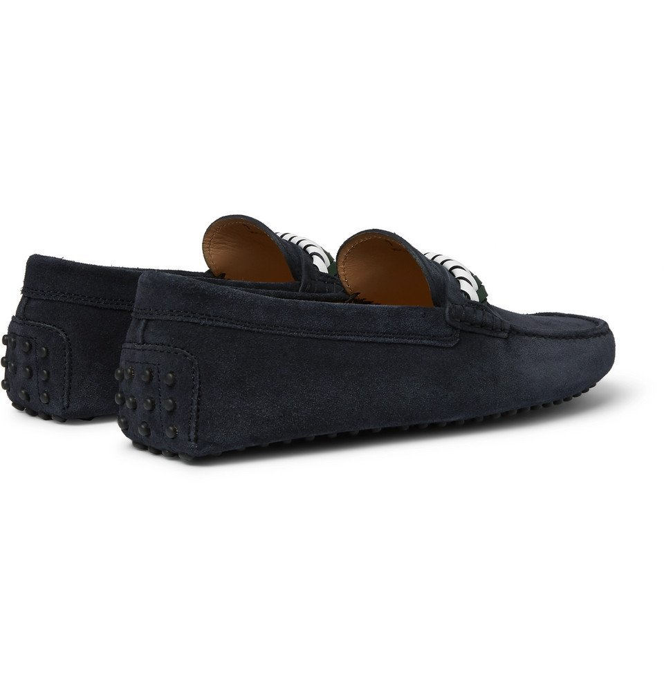 Tod's - Gommino Leather-Trimmed Suede Driving Shoes - Men - Navy