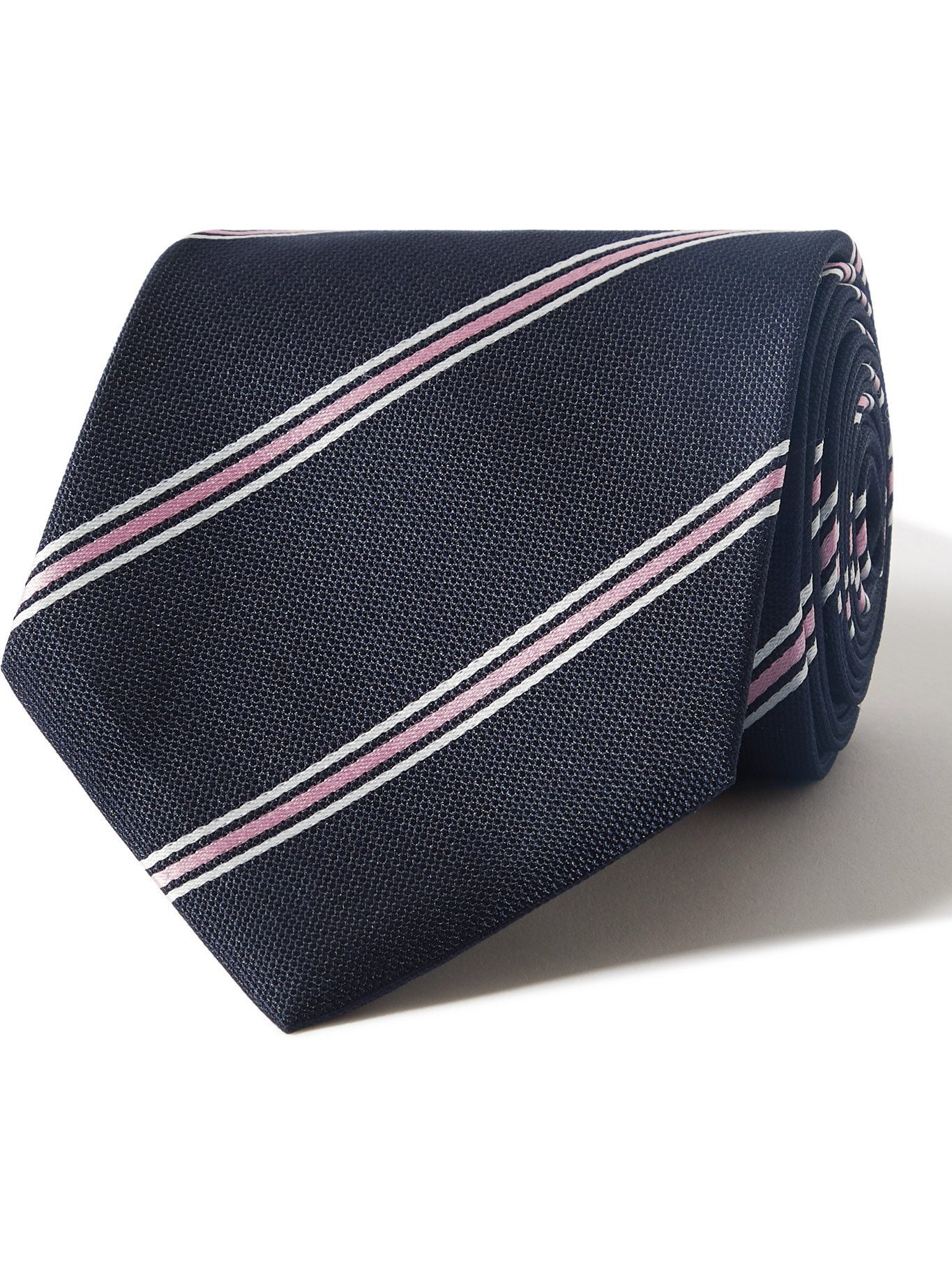 HUGO BOSS - 8cm Striped Silk-Jacquard Tie - Blue