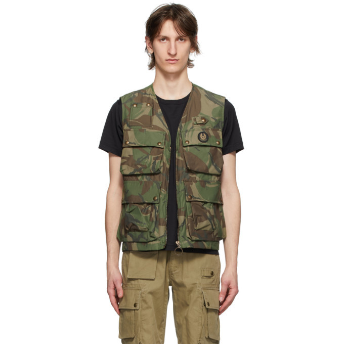 Photo: Belstaff Green and Brown Camo Castmaster Gilet