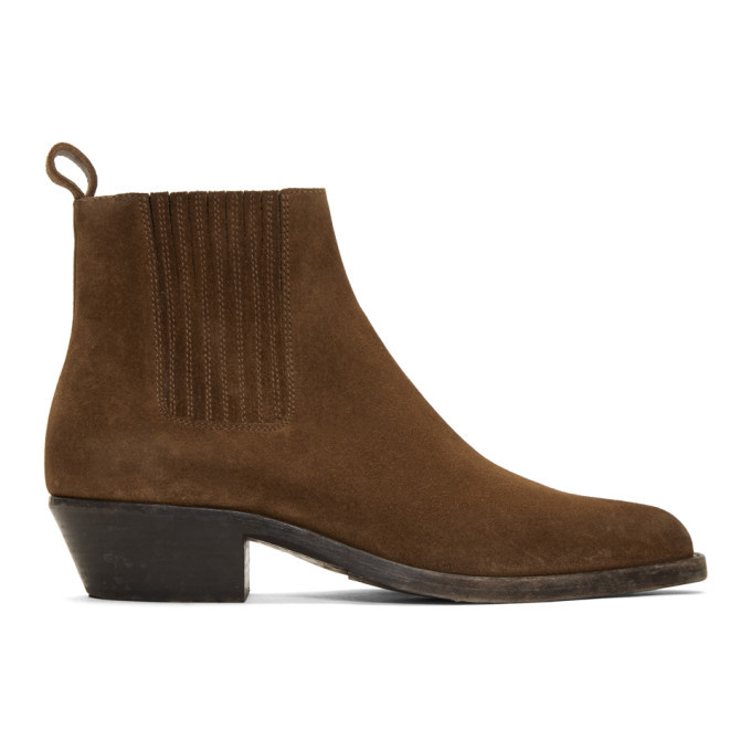 Photo: Saint Laurent Brown Suede Dakota Chelsea Boots
