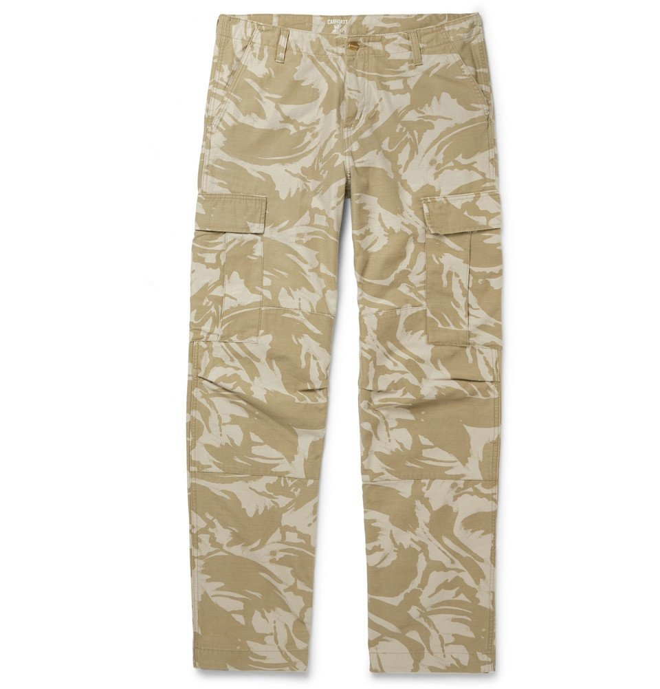 Photo: Carhartt WIP - Camouflage-Print Cotton-Canvas Cargo Trousers - Beige