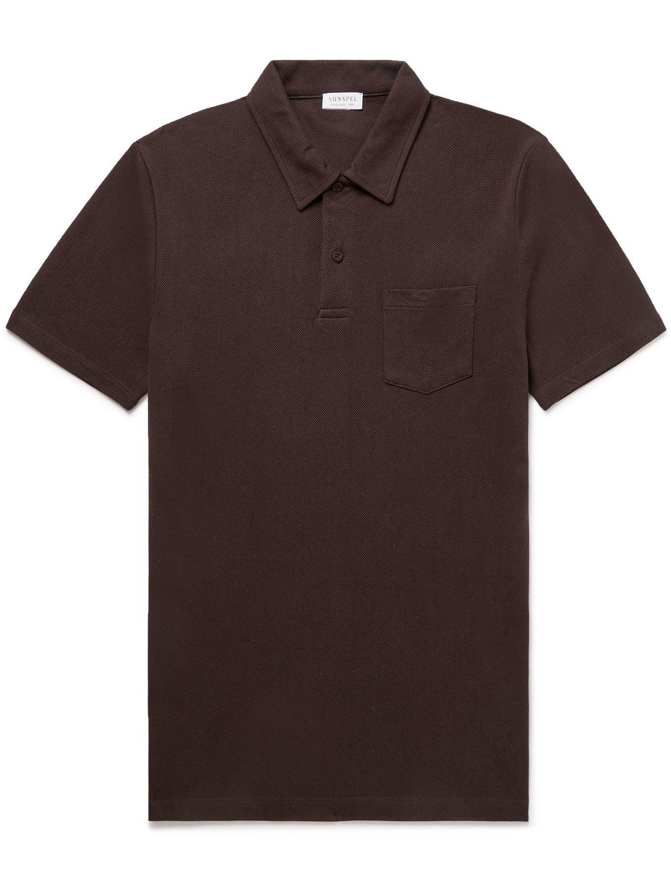 Photo: Sunspel - Riviera Slim-Fit Cotton-Mesh Polo Shirt - Brown