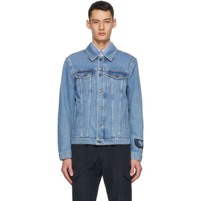 Photo: MSGM Blue Denim Embroidered Logo Jacket
