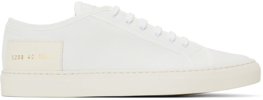 Photo: Common Projects White Recycled Nylon Tournament Low Sneakers