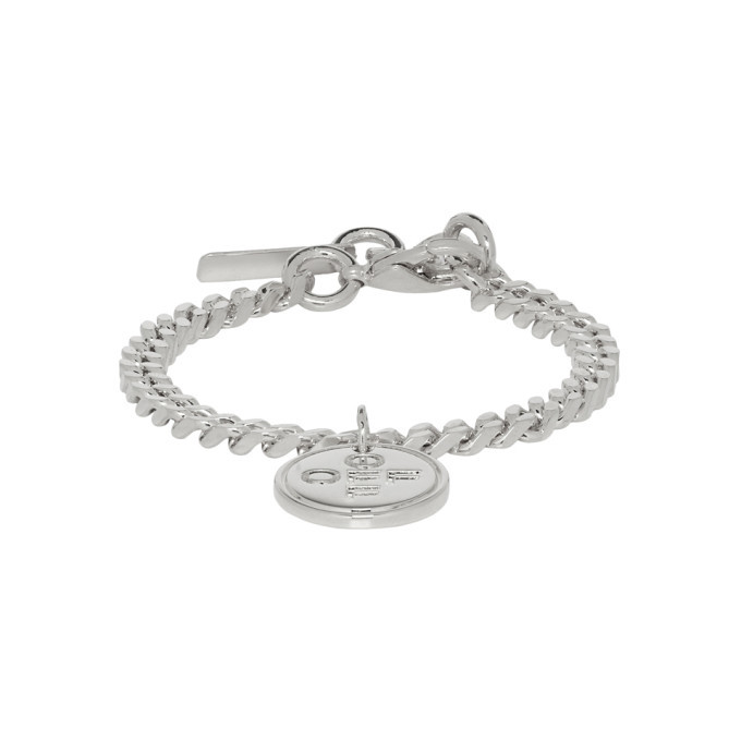 Photo: Off-White SSENSE Exclusive Silver Logo Cross Bracelet