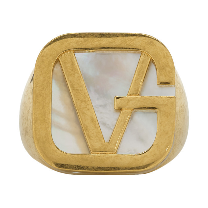 Photo: Versace Gold GV Pearl Ring