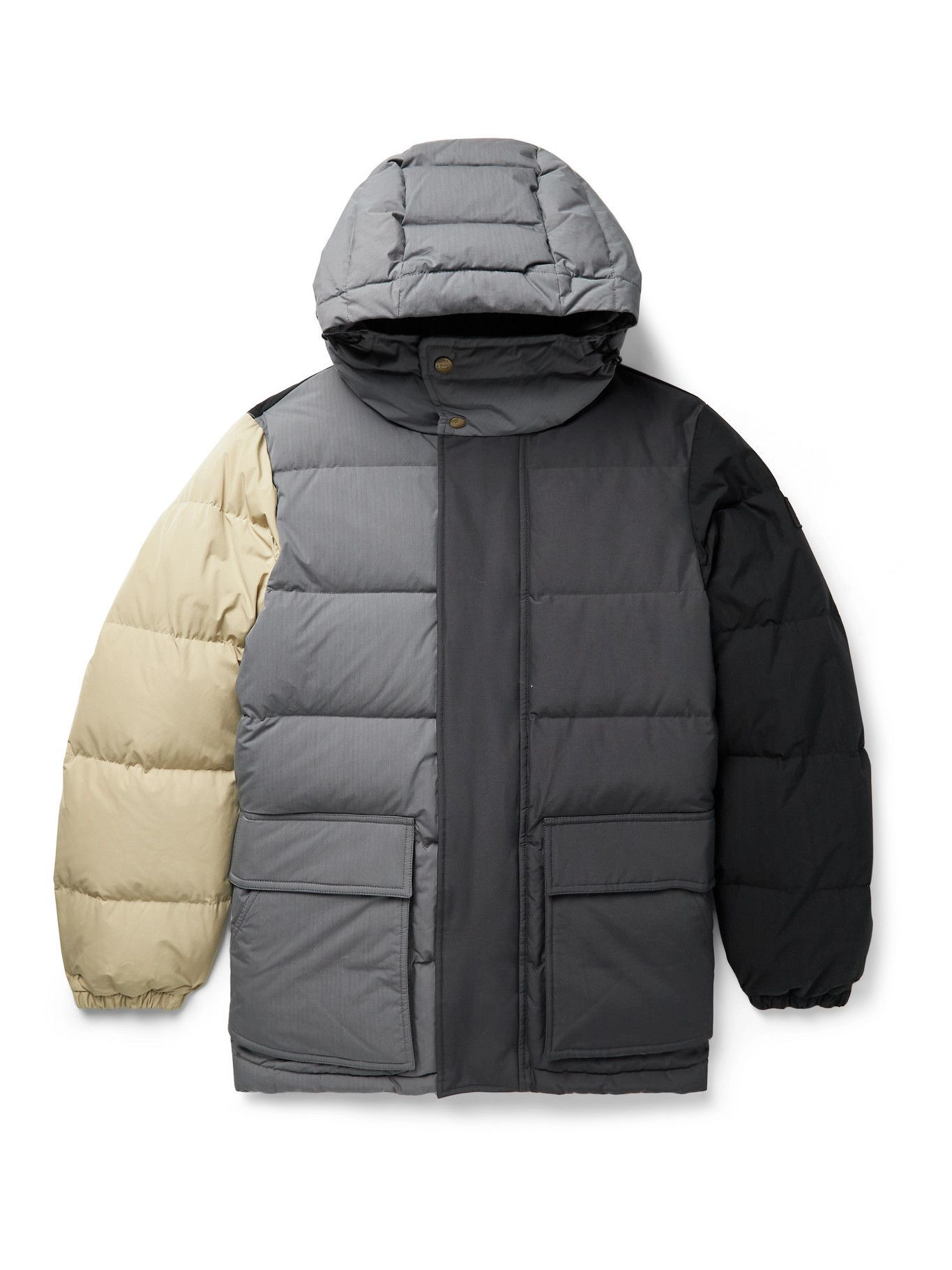 Photo: AIMÉ LEON DORE - Woolrich Quilted Colour-Block Ripstop, Shell and Faille Hooded Down Jacket - Gray