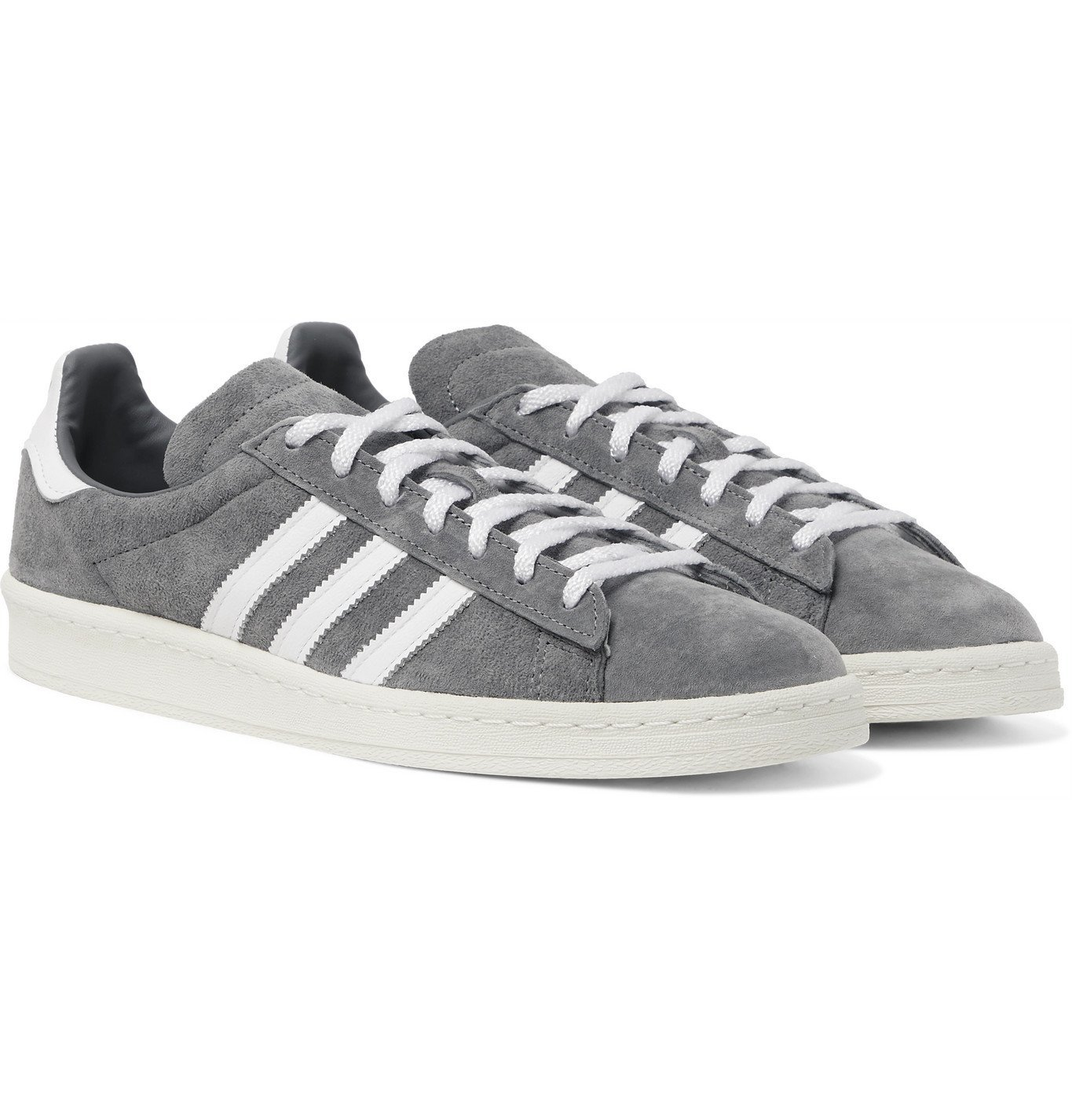 ADIDAS ORIGINALS - Campus 80s Leather-Trimmed Suede Sneakers - Gray