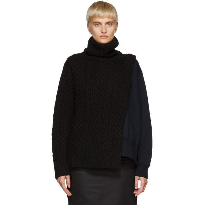 Photo: Sacai Black and Navy Knit and French Terry Turtleneck