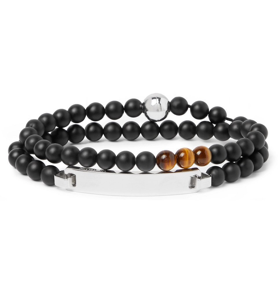 Photo: Montblanc - James Dean Sterling Silver, Onyx and Tiger's Eye Beaded Bracelet - Black