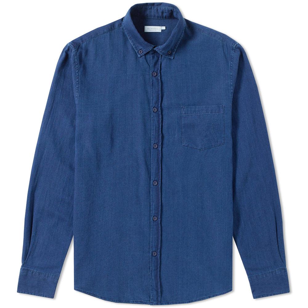 Sunspel Button Down Twill Shirt Blue