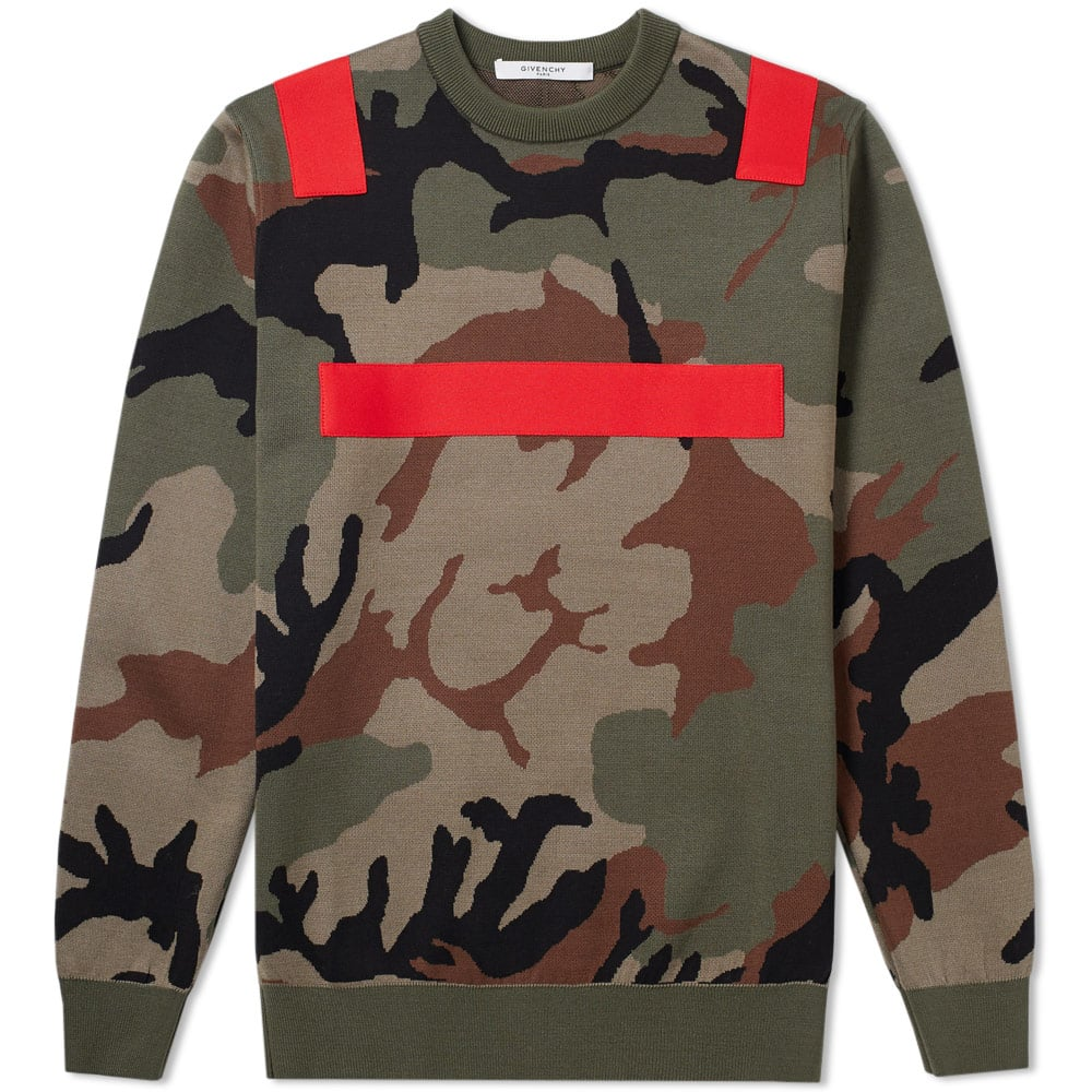 Photo: Givenchy Camo Tape Detail Crew Neck Knit