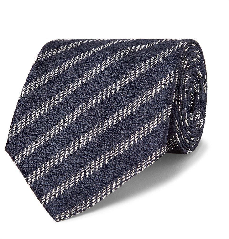 Giorgio Armani - 8cm Striped Silk-Jacquard Tie - Men - Midnight blue