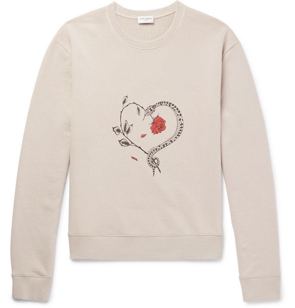 Photo: SAINT LAURENT - Printed Loopback Cotton-Jersey Sweatshirt - Beige