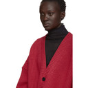 Raf Simons Red V-Neck Leather Patch Cardigan