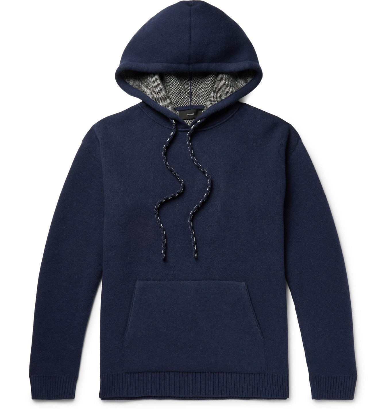 Photo: Alanui - Intarsia Wool and Cashmere-Blend Hoodie - Blue