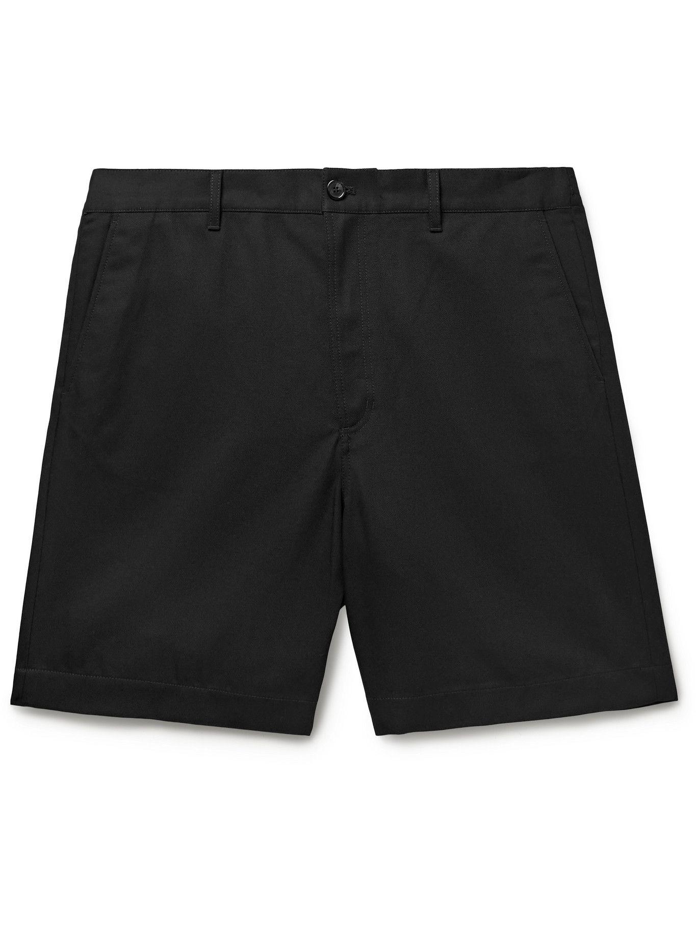 Photo: ACNE STUDIOS - Wide-Leg Cotton-Blend Twill Shorts - Black