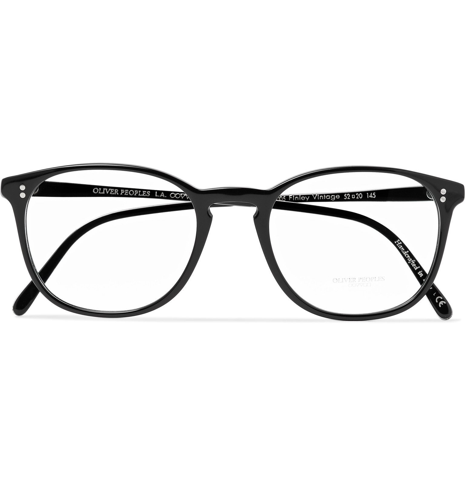 Oliver Peoples - Finley Vintage Round-Frame Acetate and Silver-Tone Metal Optical Glasses - Black