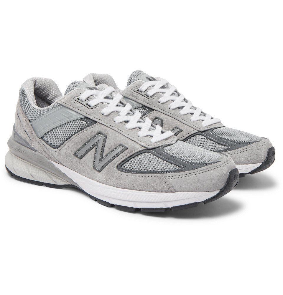 Photo: New Balance - 990 V5 Suede and Mesh Sneakers - Gray