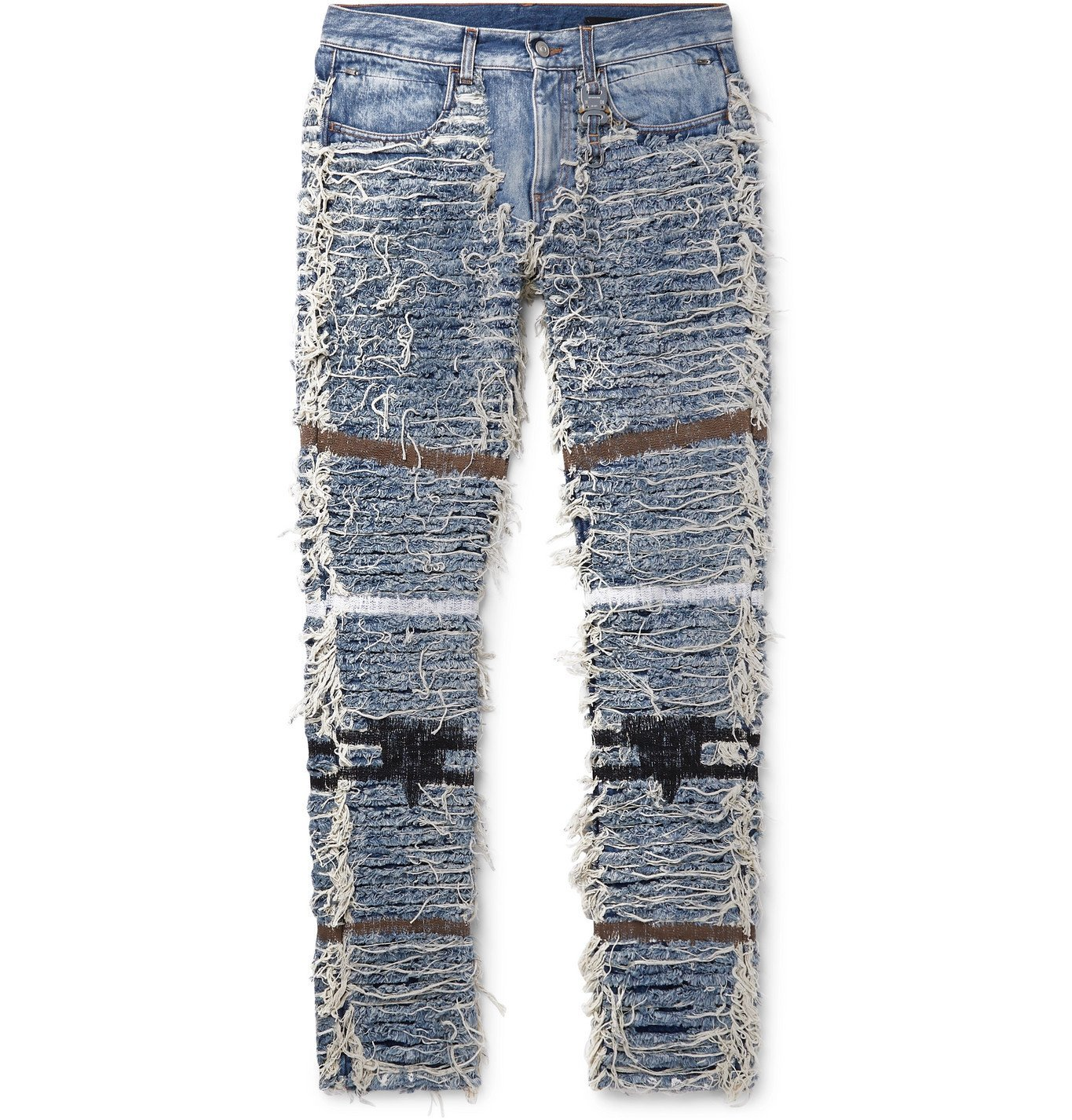 Photo: 1017 ALYX 9SM - Blackmeans Slim-Fit Distressed Embroidered Denim Jeans - Blue