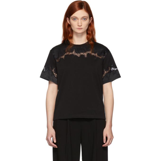 3.1 Phillip Lim Black Lace Insert T-Shirt