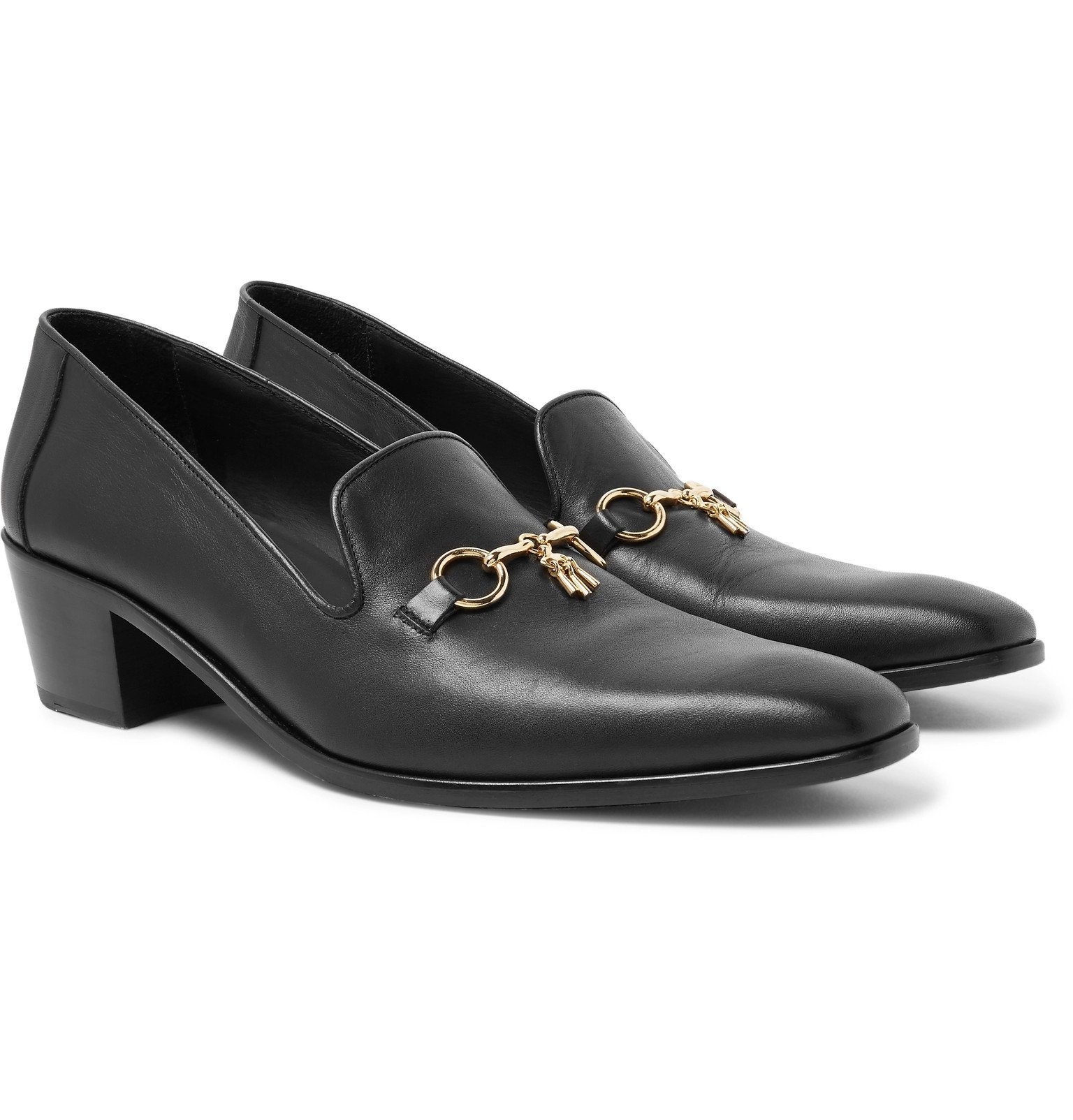Photo: Needles - Embellished Leather Loafers - Black