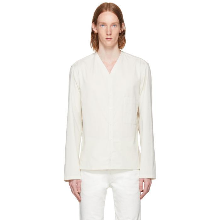 Lemaire Off-White V-Neck Collar Shirt