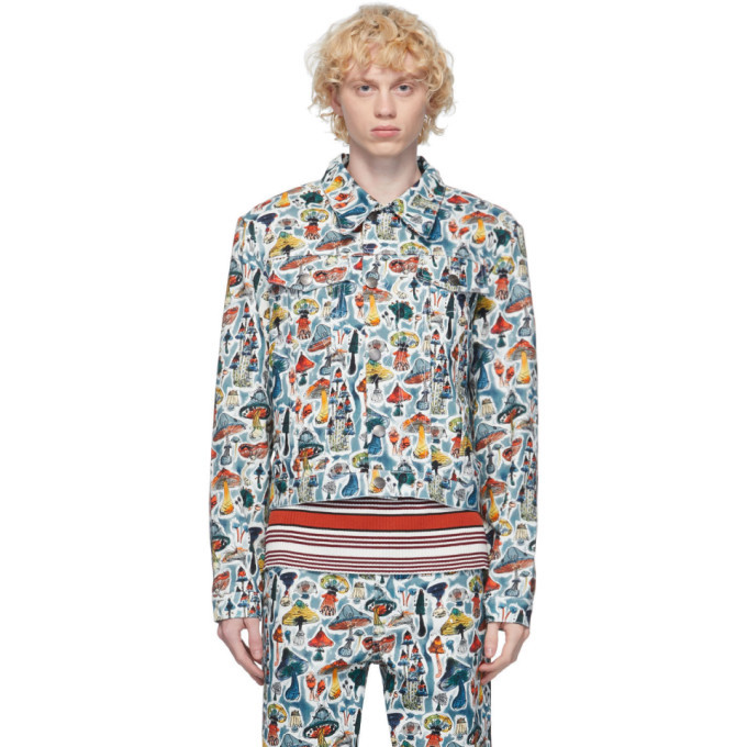 Photo: Charles Jeffrey Loverboy Multicolor Denim Shrooms Art Jacket