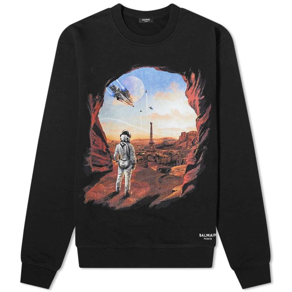Photo: Balmain Parisian Dystopia Print Crew Sweat