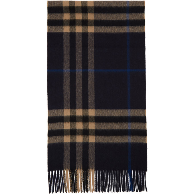Photo: Burberry Indigo Cashmere Classic Check Scarf
