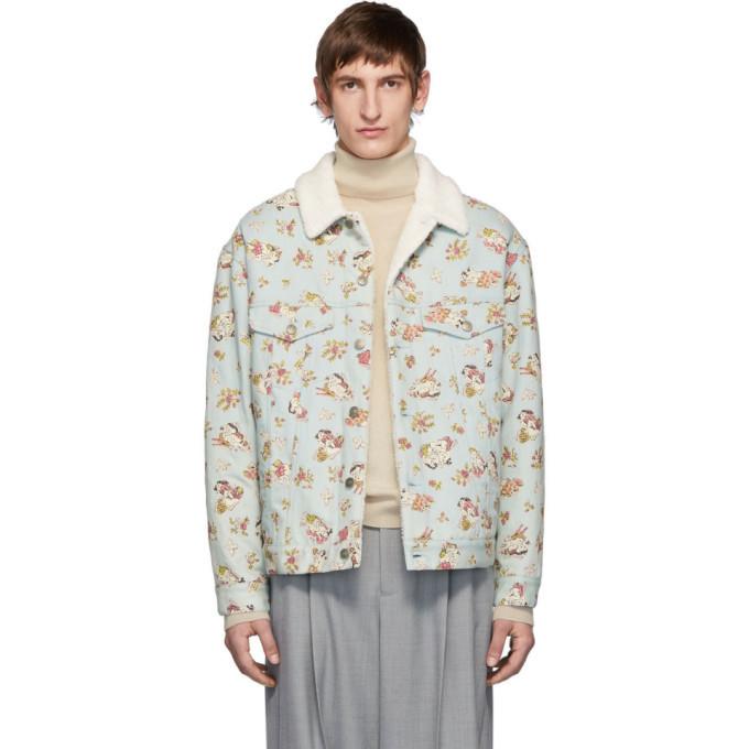 Photo: Gucci Blue Denim Sherpa Graphic Jacket