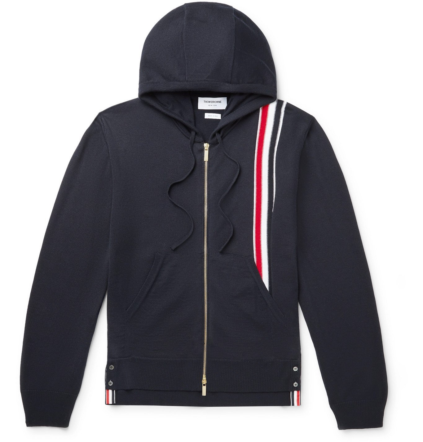Photo: Thom Browne - Striped Grosgrain-Trimmed Merino Wool Zip-Up Hoodie - Blue