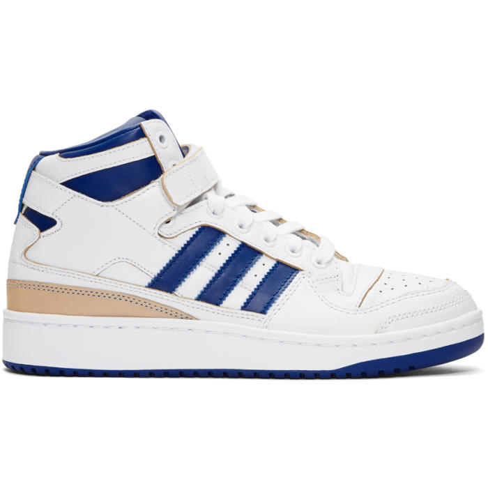 adidas Originals White and Blue Forum Mid Sneakers