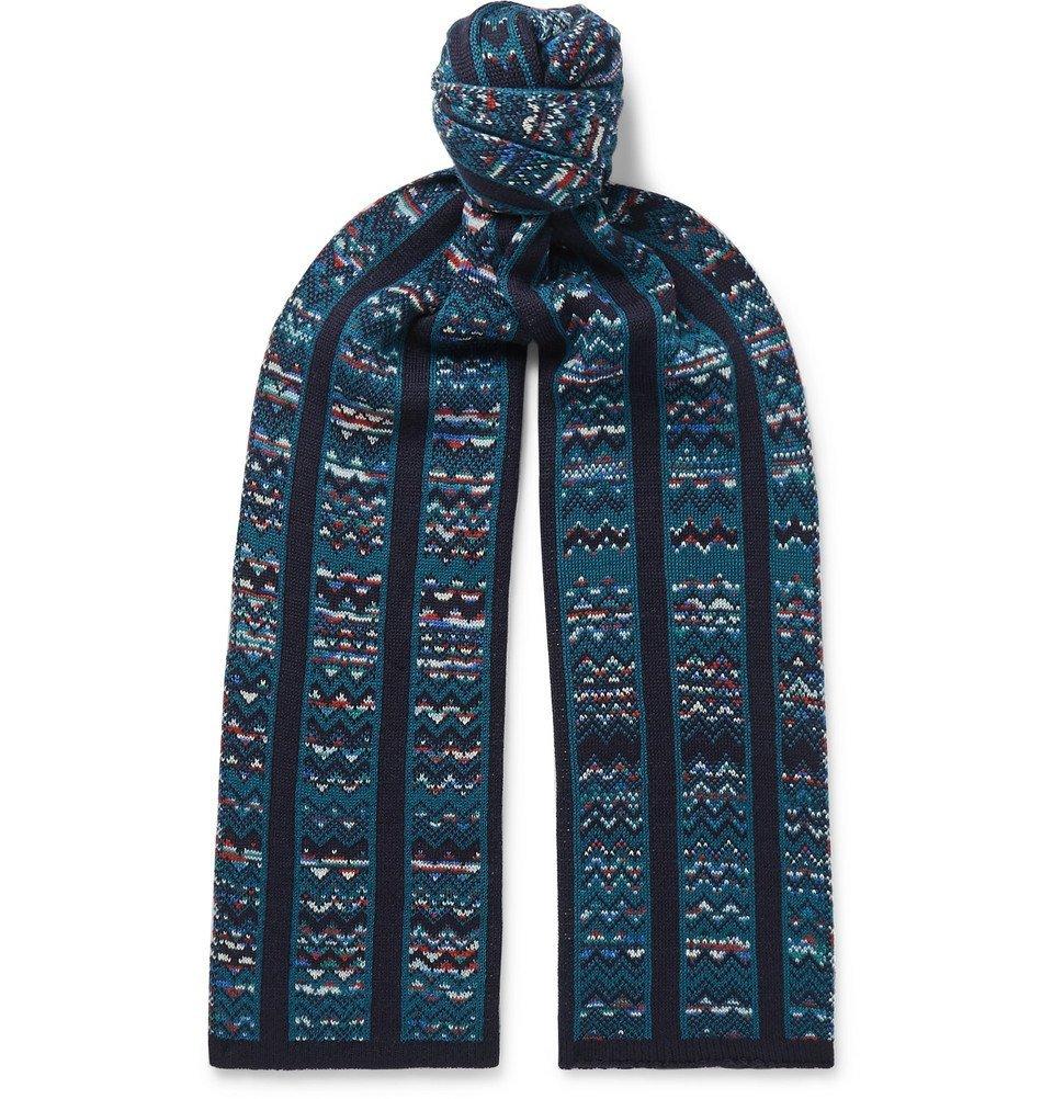 Photo: Missoni - Crochet-Knit Wool-Blend Scarf - Navy